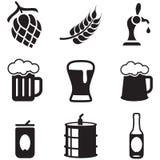 Icone della birra Fotografie Stock