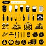 Icone della birra Fotografia Stock