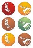 Icone della birra e dell'orzo illustrazione di stock