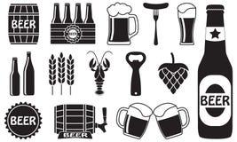 Icone della birra messe: bottiglia, apri, vetro, rubinetto, barilotto Simboli ed elementi di progettazione per il ristorante, il  illustrazione vettoriale
