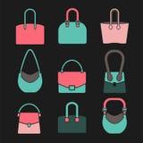 Icone della borsa messe Fotografia Stock