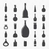 Icone della bottiglia Fotografie Stock Libere da Diritti