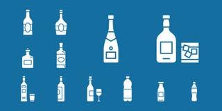 Icone della bottiglia & della bevanda - metta il web & il cellulare 04 royalty illustrazione gratis