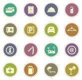 Icone della camera di albergo messe Fotografie Stock