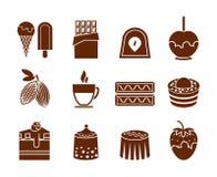 Icone della caramella e del cioccolato messe Fotografia Stock Libera da Diritti