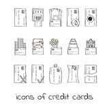 Icone della carta di credito di tiraggio della mano Raccolta dei segni lineari dei prestiti Immagini Stock Libere da Diritti