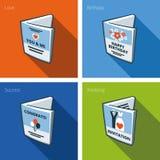 Icone della cartolina d'auguri messe nello stile del fumetto Fotografia Stock