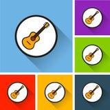 Icone della chitarra con ombra lunga Fotografia Stock Libera da Diritti