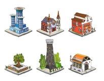 Icone della città, costruzioni, parte dei detailes del parco della raccolta Fotografie Stock