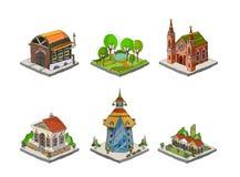 Icone della città, costruzioni, parte dei detailes del parco della raccolta Immagine Stock