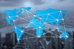 Icone della connessione di rete della gente con il collegamento della mappa di mondo Fotografia Stock Libera da Diritti
