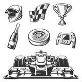 Icone della corsa di automobile messe Il casco, ruota, gomma, tachimetro, tazza, bandiera, Vector l'illustrazione piana su fondo  Immagine Stock