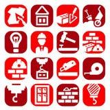 Icone della costruzione di colore messe illustrazione di stock