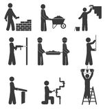 Icone della costruzione, impianto idraulico di rinnovamento sul fondo bianco Fotografie Stock