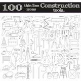 Icone della costruzione - trapano, perforatore ed altri strumenti Un insieme di 100 oggetti Immagine Stock