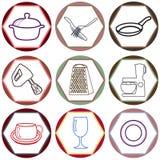 Icone della cucina Fotografie Stock Libere da Diritti