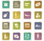 Icone della cucina e dell'alimento messe Fotografie Stock Libere da Diritti