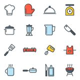 Icone della cucina e di cottura Fotografia Stock Libera da Diritti