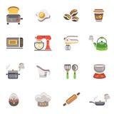 Icone della cucina e di cottura Immagini Stock