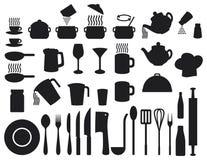 Icone della cucina impostate Fotografie Stock Libere da Diritti