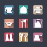 Icone della cucina Insieme piano Ombre lunghe Immagini Stock Libere da Diritti