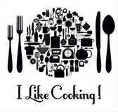 Icone della cucina messe degli strumenti Immagine Stock