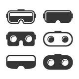 Icone della cuffia avricolare di VR messe su fondo bianco Vettore illustrazione vettoriale