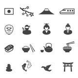 Icone della cultura del Giappone Immagini Stock Libere da Diritti