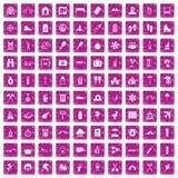 100 icone della famiglia di feste hanno fissato il rosa di lerciume Fotografie Stock