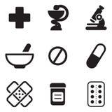 Icone della farmacia Immagini Stock