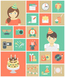 Icone della festa di compleanno dei bambini Fotografia Stock