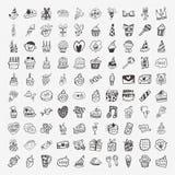 100 icone della festa di compleanno di scarabocchio messe Fotografie Stock Libere da Diritti