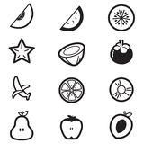 Icone della fetta del cut& della frutta Immagini Stock Libere da Diritti