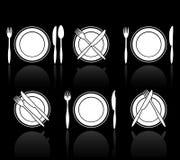 Icone della forchetta, del coltello e del cucchiaio royalty illustrazione gratis