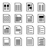 Icone della forma del documento Fotografia Stock Libera da Diritti
