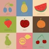 Icone della frutta di scarabocchio nei retro colori Immagine Stock