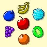 Icone della frutta impostate Immagini Stock Libere da Diritti