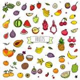Icone della frutta impostate Fotografia Stock Libera da Diritti