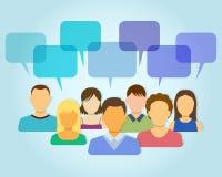 Icone della gente con le bolle di dialogo Immagini Stock