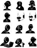 Icone della gente di servizio di assistenza al cliente Immagine Stock