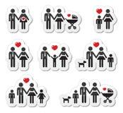 Icone della gente - famiglia, bambino, donna incinta, coupl Fotografia Stock