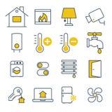 Icone della gestione della casa intelligente Immagine Stock