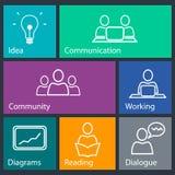 Icone della gestione e di conferenza Immagine Stock