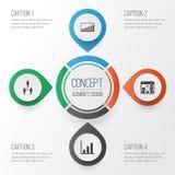 Icone della gestione messe Statistiche di Collection Of Group Organization, Project Targets, Company ed altri elementi anche Fotografia Stock