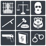 Icone della giustizia e di legge bianche sul nero Immagini Stock