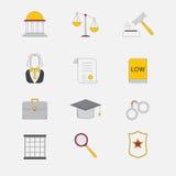 Icone della giustizia e di legge Il sistema giudiziario, il giudice, la polizia e l'avvocato Immagine Stock