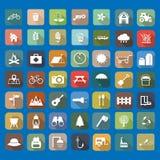 49 icone della lamina piatta universale Fotografie Stock