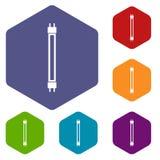 Icone della lampada di fluorescenza messe Fotografia Stock