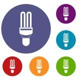 Icone della lampada di fluorescenza messe Immagini Stock