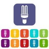 Icone della lampada di fluorescenza messe Fotografie Stock Libere da Diritti